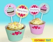 Cupcake and Love Heart Wrappers & Toppers - Editable Text Printable PDF - INSTANT DOWNLOAD