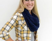 NAVY BLUE Crocheted Scarf, Infinity Scarf, Chunky Fall Scarf, Made to Order