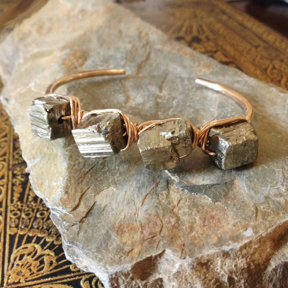 Mountain Goddess Bronze or blackened copper cuff with Pyrite Chunks