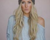Knitted Bow Headband, Wide Bow Ear Warmer, Women's Fashion Accessory, Fall Headband, Best Seller, Multi-Knit Bow Headband in Mocha (HB-4021)