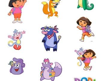 "9"" DIGITAL Dora the Explorer Centerpieces - LARGE Size - Dora Boots Swiper - Print at Home DIY"