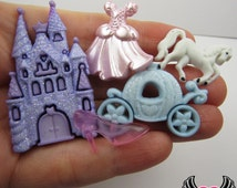Jesse James Buttons 5pc HaPPILY EVER AFTER Castle, Carriage, Horse, Dress Buttons and Flatback Cabochon