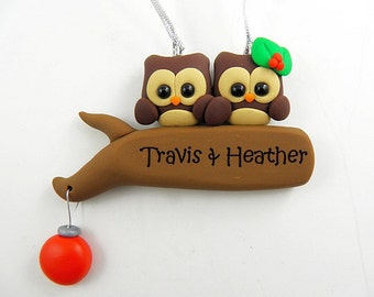 Personalize Owl Couple Christmas Ornament Polymer Clay