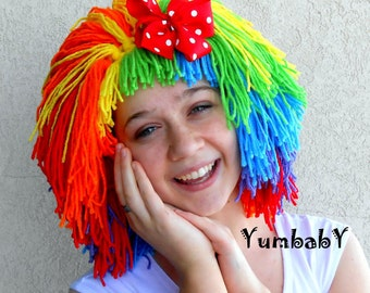 clown wig halloween costume clown costume orange red green yellow purple blue - Red Wigs For Halloween