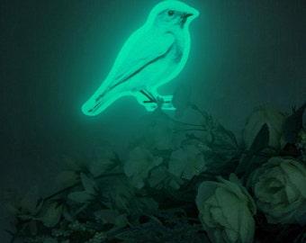 Luminous Bluebird deco sticker, BLUEBIRD GARDEN (glow in the dark night-light wall sticker)
