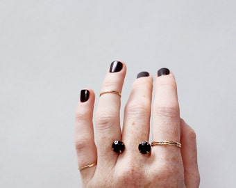 Double Crystal Cuff Ring / Black + Gold
