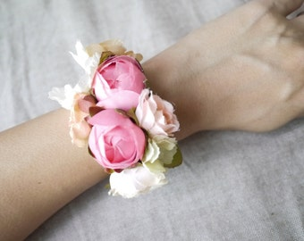 Silk flower bracelet / wrist corsage of pink and white