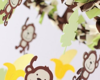 Monkey Nursery Mobile - Jungle Nursery Decor, Baby Shower Gift, Photographer Prop