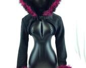 Pawstar WOLF EAR Fur TRIM Hooded Shrug You Pick Color bolero jacket Crop Top Burgundy magenta Purple Blue Red Brown Grey Black Pink 6230