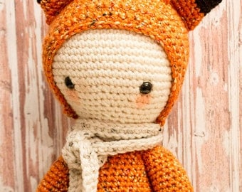Large Fox Crochet Doll - Fawks - Dress Up Human Doll Plush