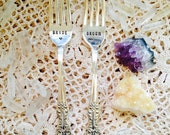 Bride & Groom Wedding Forks - ONE LOVE - Hand stamped wedding gift or accessory - Vintage silver plated Flatware