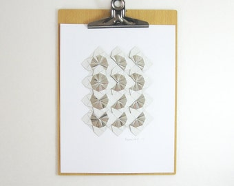 Origami Sketch No20 Silver Paper Collage - Original Collage - Modern Op Art - Metallic Grey Decor - White Wall Decor - Paper Anniversary