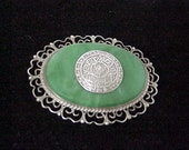 Taxco Brooch Vintage Sterling Silver & Chalcedony C1940  Signed  Pre Eagle