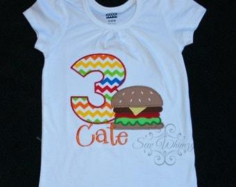 Hamburger cookout party shirt- Hamburger Birthday Shirt- Summer Birthday shirt- Girl Applique Shirt- Hamburger Embroidered shirt- Monogram