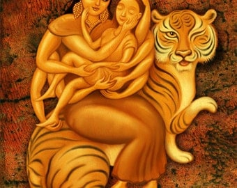 Durga's Embrace- Mother Goddess art print- Personalized artwork- Healing art- Get well caregiver nurse gift- Hindu spiritual art- Asian art