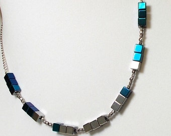 Electric Silver And Blue Hematite Stone Square Bead Necklace