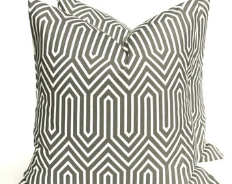 Gray Pillow. Trails. Dark Gray Pillow. Gray Pillow Cover. Gray White. Grey Cushion Covers. TWO 16x16 Printed Fabric both sides Accent Pillow
