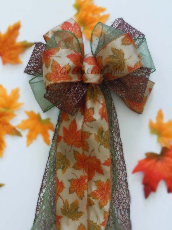 Fall Leaves Wreath Bow Brown Green Orange Autumn Fall Wedding Pew Bows Rustic Fall Autumn Leaves Thanksgiving Wreath Bows Church Aisle Bow