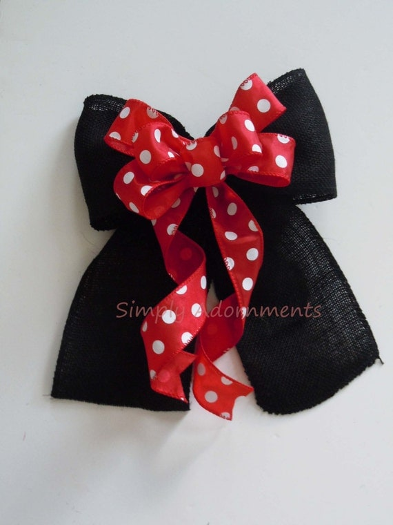 Black Red Burlap Bow Mickey Mouse Christmas bow Disney Mickey Mouse Birthday Party Decor Black Red Burlap Mickey Mouse Wreath Bow Gifts Bow