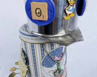 "Robot Assemblage/Sculpture ""Duck-Bot"" Found Object - Junk Art"