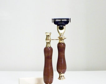 Hand-turned quilted makore wood razor and stand