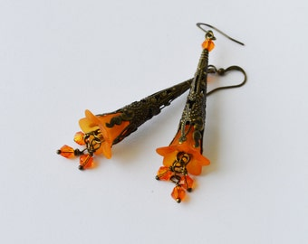 Orange Bell Flower Earrings - Lucite Flower Earrings With Swarovski crystals