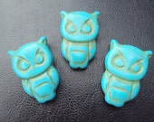 50% OFF SALE Turquoise Carved Owl Beads Pendants 30x21mm 3 Piece Set Birds, Animals