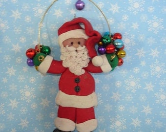 Santa Claus Christmas Ornament Advent 24 Colored Bells Countdown Polymer Clay Milestone Cake Topper Red Suit St Nick Happy Holidays
