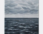 "Stormy Sea Painting: Original Seascape Painting of Storm at Sea. Fine Art on Canvas, Acrylic Ocean Painting, 10"" X 10"""