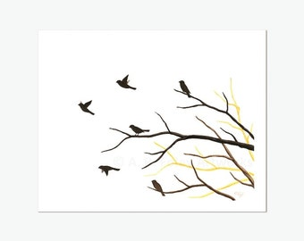 Bird Silhouette Art, Original Watercolor Painting of Flock of Birds in a Tree, Simple Nature Art, 8X10