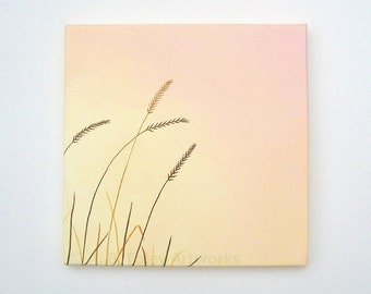 "Original Nature Painting: Pink Sunset Grass Silhouette. Minimalist Nature Art on Canvas, Peach Decor, Brown and Pink Acrylic Art 10"" X 10"""