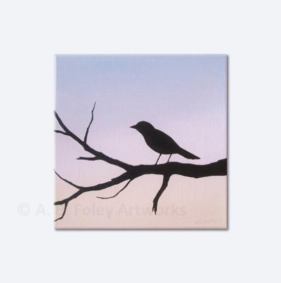 Bird Silhouette Painting: Acrylic Painting on Canvas of Bird