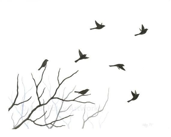 Items similar to Original Watercolor Bird Painting, Flying ...