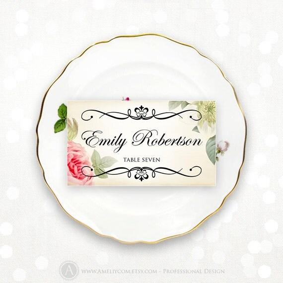 Printable Place Card Wedding Vintage Floral Instant Download