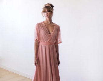 Peach pink sheer chiffon maxi gown with bat sleeves, Bridesmaids chiffon maxi dress 1027