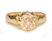Authentic Antique Circa 1890s Diamond Cluster Ring in 14k Rose Gold