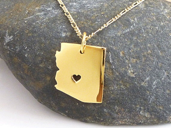 arizona necklace 18k gold plated necklace state necklace
