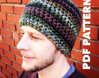 One Hour Striped Mens Beanie Crochet Pattern- Bulky Mens Beanie Hat- Quick and Easy Crochet Striped Beanie Pattern for Men- Instant Download