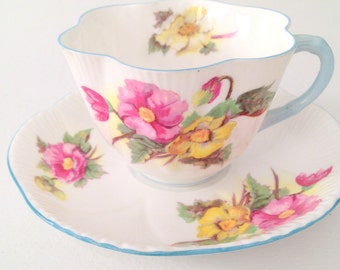 Vintage Shelley English Fine Bone China Begonia Pattern Dainty Shape Teacup and Saucer Tea Party - Ca. 1935-1962