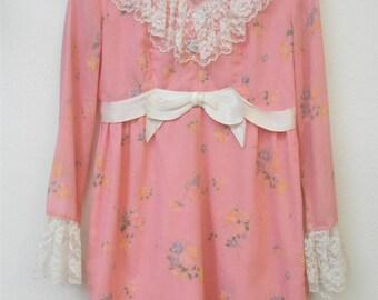 Vintage Dress 60s Pink Lace Bow Sheer Long Sleeve Metal Zipper Sweet Lolita Mini Frock