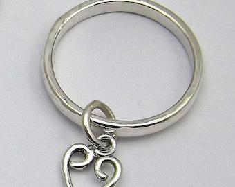 Sterling Silver Heart / Celtic Chevron Charm Ring