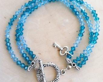 Gypsy Jewelry - Turquoise Bracelet - Swarovski Crystal - Crystal Bracelet - Blue Bracelet - Blue Crystal Bracelet - Swarovski Jewelry