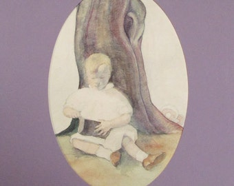 Young Child in Nature, Beautifully Hand Drawn Vintage Original Illustration Mixed Media on Paper, Acid-Free Matting, Mount, Ready to Frame