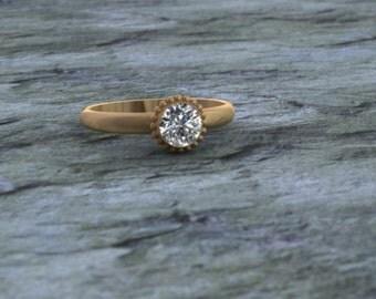 14K Half .ct Round Diamond Beaded Engagement Ring