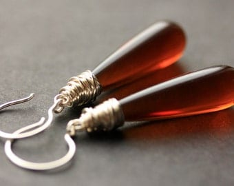 Coffee Amber Earrings. Long Earrings. Dark Amber Earrings. Long Teardrop Earrings. Brown Earrings. Wire Wrapped Earrings. Handmade Jewelry.