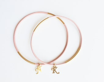 personalized bridesmaids gifts -  Pink leather Bracelet - 24k mate gold plated