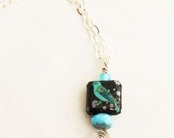 Decoupage Bluebird Necklace