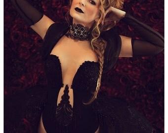 Dark Gothic Bodysuit Marie Antoinette Costume Guipure Lace Panniers