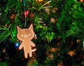 Gingerbread Cookie Cat Ornament, Kawaii Christmas Tree Decoration, Cute Holiday Gingerbread Man
