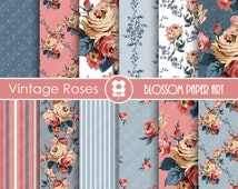 Rose Digital Paper, Pink Blue Floral Digital Paper Pack, Pink Roses, Scrapbooking, Roses, Pink VIntage Roses - INSTANT DOWNLOAD  - 1706